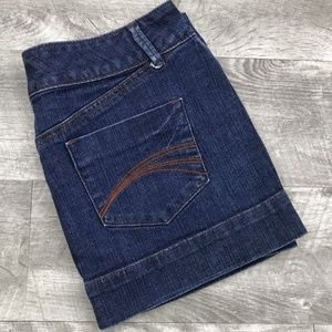 DECREE Zipper Pockets Blue Denim Jean Mini Skirt